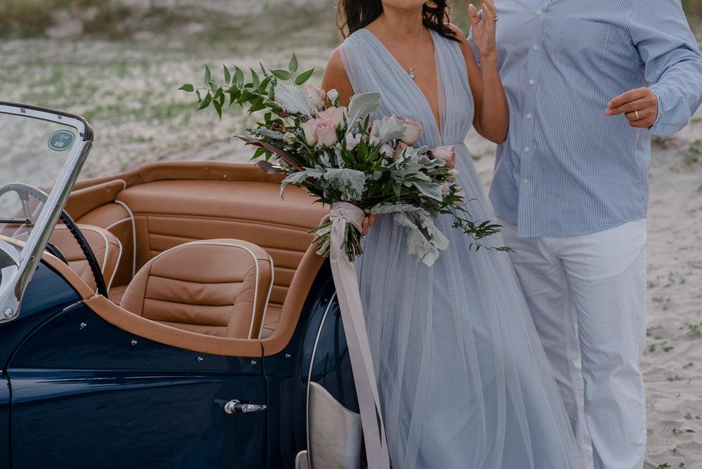 Destination Anniversary Celebration { Folly Beach Charleston, South Carolina Couple Photography | Andrea & Gustavo} | Vintage Car and High Fashion