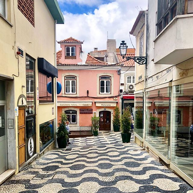 Limestone pavers here and everywhere in Portugal.