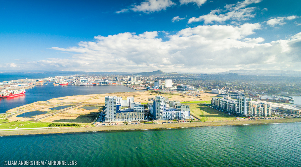 The Western Harbour development captured from the air - images courtesy of  Drone Stock Scotland