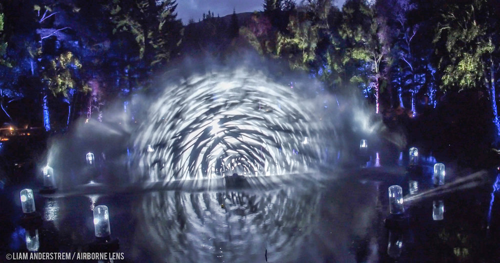 The amazing water feature in the main loch projects a stunning light show.