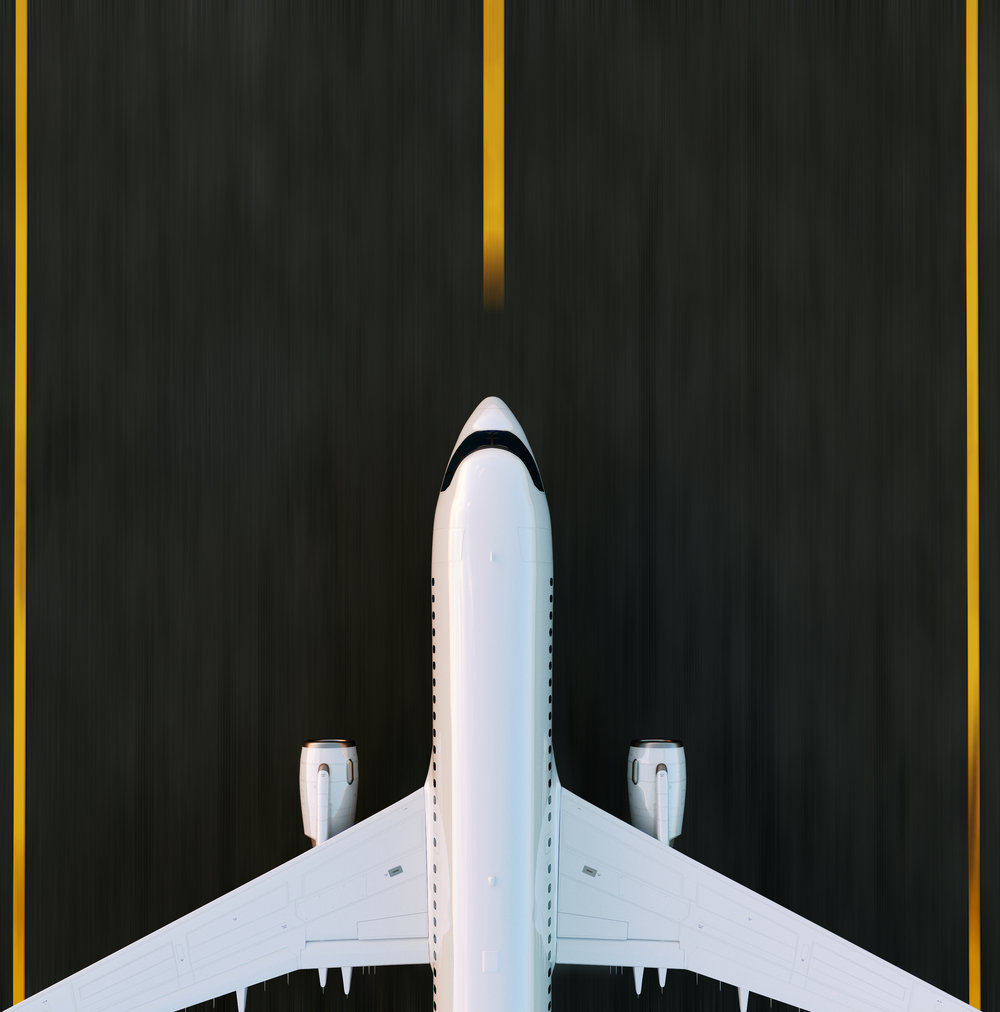 White commercial airplane taking off on the airport runway at sunset. Passenger airplane is taking off. Airplane concept 3D illustration.
