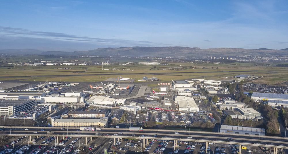 Drone image of Glasgow Airport, captured following completion of all necessary steps to ensure legal drone operations took place.