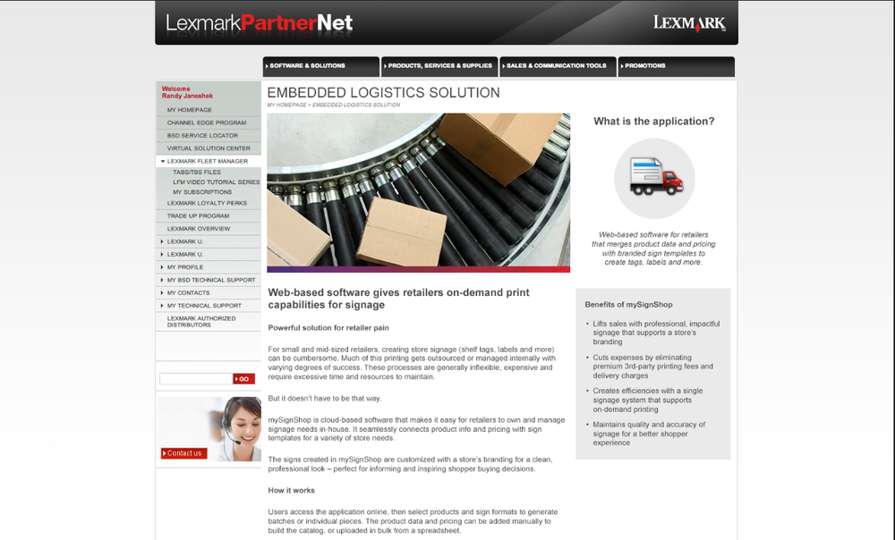 Embedded Logistics Solution Landing Page