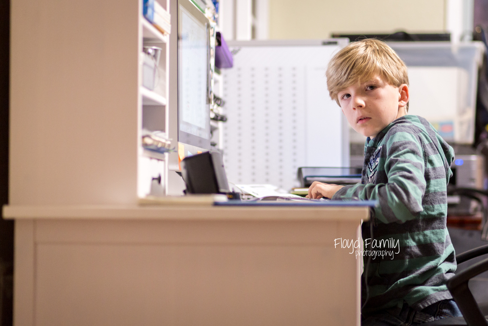 boy working at desk | Placerville-Children-Photographer