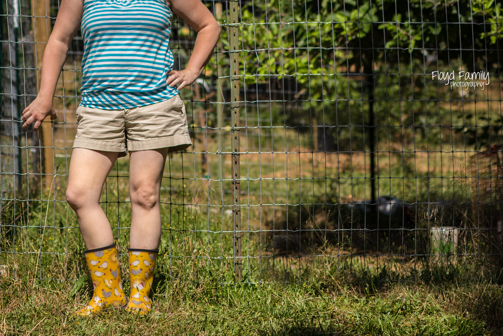 me showing off my chicken boots | Placerville Family Documentary Portraits