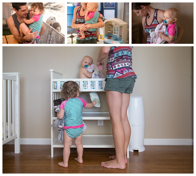 collage of little girls hanging out at home with parents