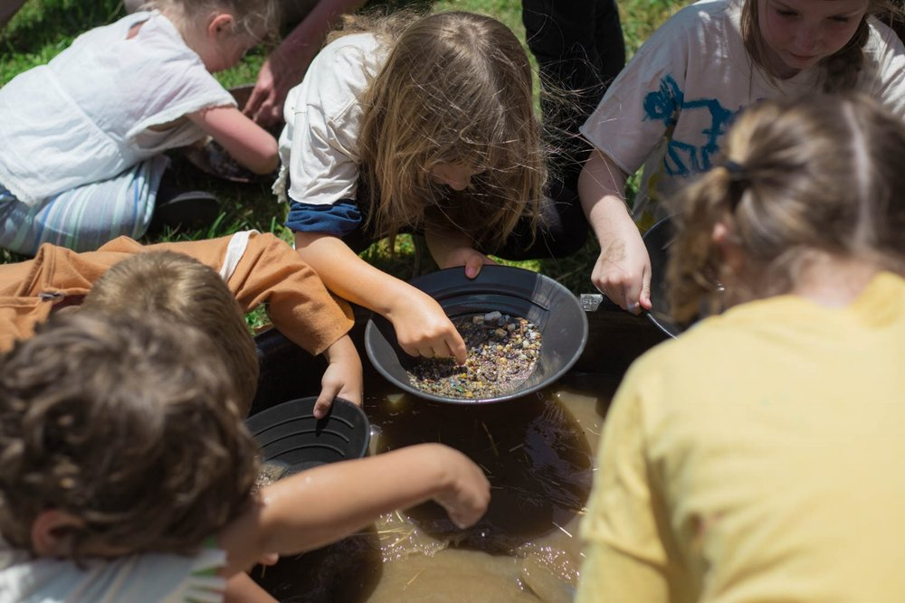 Gold panning at the school Living History Day