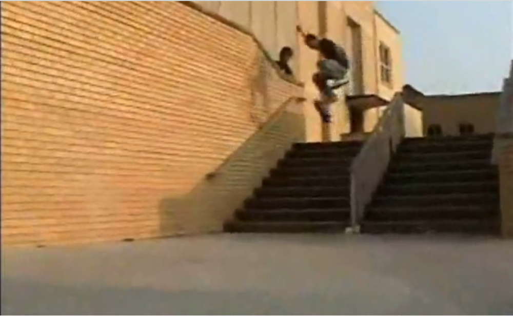 Kickflip, but might as well be a blob. Terrible screenshot from a video part we put out in 2006.