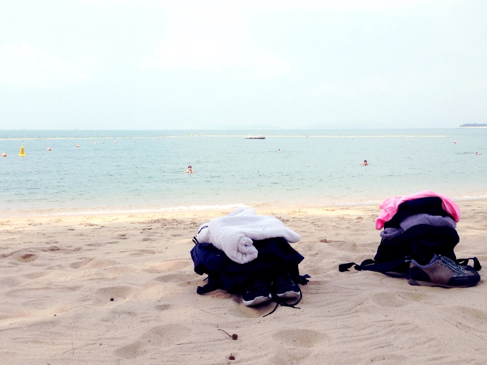 And after hiking for a while we went for a swim at Lo So Shing beach