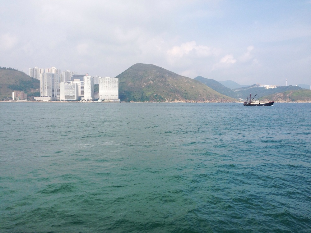 The view from the boat to Aberdeen Promenade - the southern part of Hong Kong Island