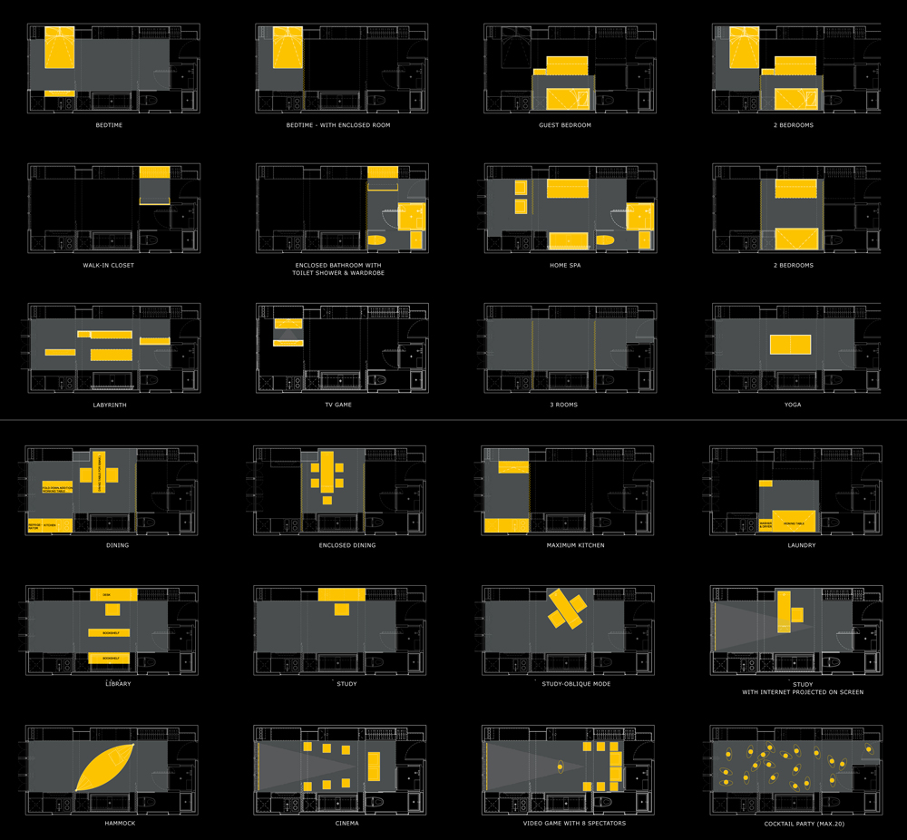 This diagram shows the 24 different configurations of home settings that can be made in GARY's apartment. It is quite amazing. Image: Edge Design LTD.