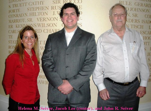 U of H Scholarship Winner #1 - Jacob Lee in 2012 with helena seiver (left) and John richard seiver (right)