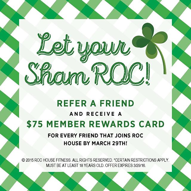 March Member Referral Rewards! Don't miss out, AND your friend gets March on US! #togetherwecan #committobefit #rochouse #womenshealth #womensfitness #womensgym #memberreferral #motivation