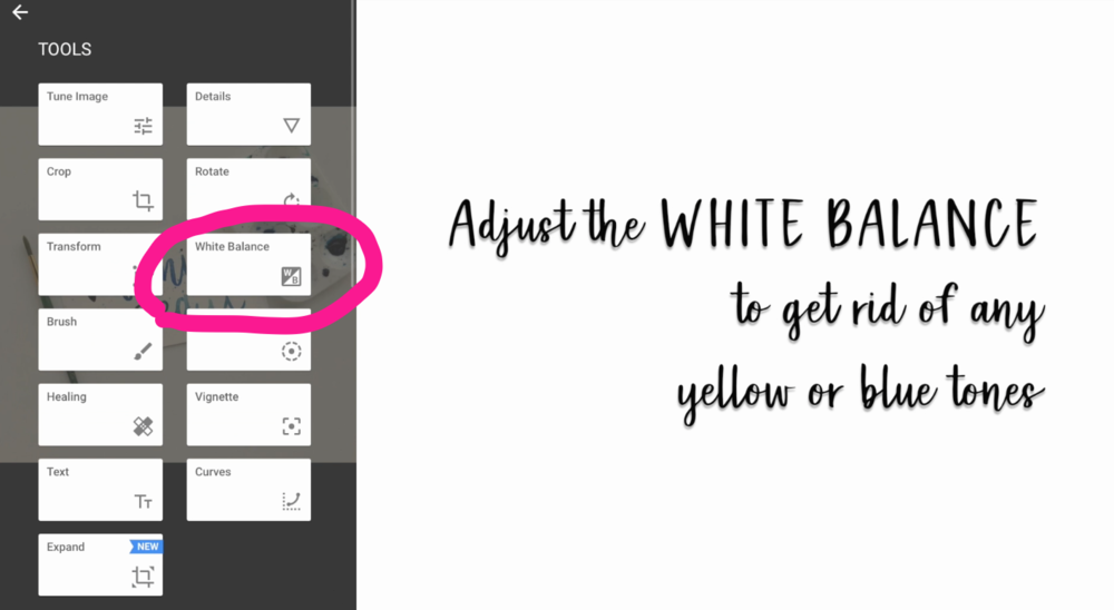 I like to start by adjusting the White Balance of my image.  This makes it so that the areas of your image that are supposed to be white actually look white (and not yellow, blue, or another color).