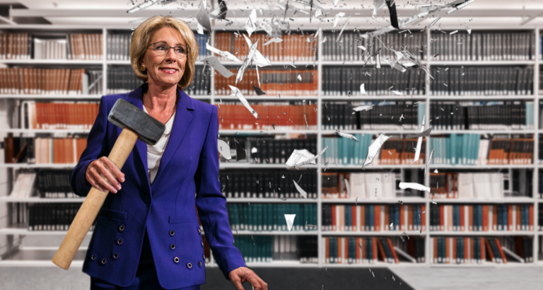 Betsy DeVos Breaks Glass Ceiling of Public School Library -