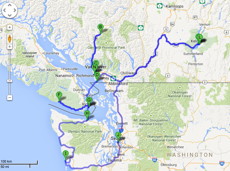 The I Mean Business Trip Pacific Northwest Canada and USA – Map Usa North West