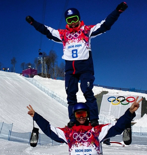 Aimee Fuller and Billy Morgan in 'training' Sochi 2014