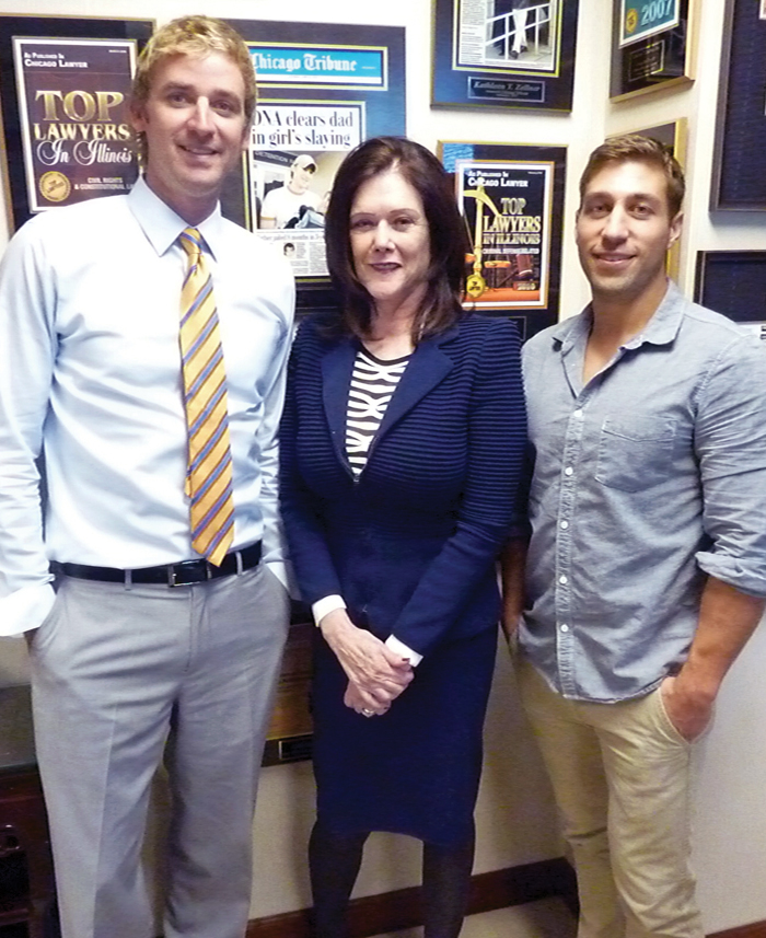 Zellner with clients Kevin Fox (left) and Ryan Ferguson after an October meeting in her office.  Photo by Roy Strom.