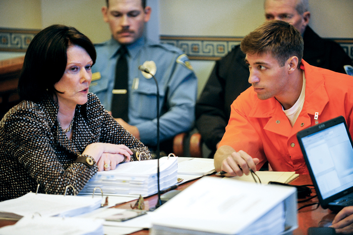 Ryan Ferguson listens to Zellner during a 2012 evidentiary hearing considering his innocence in a 2001 murder. Photo by Associated Press / August Kryger, Columbia Daily Tribune.