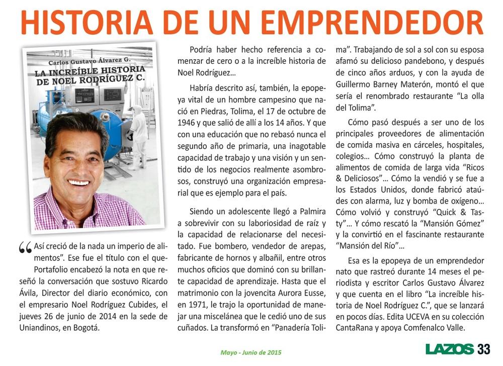 Comfenalco, Revista Lazos, Edición de Mayo-Junio de 2015, Página 33.