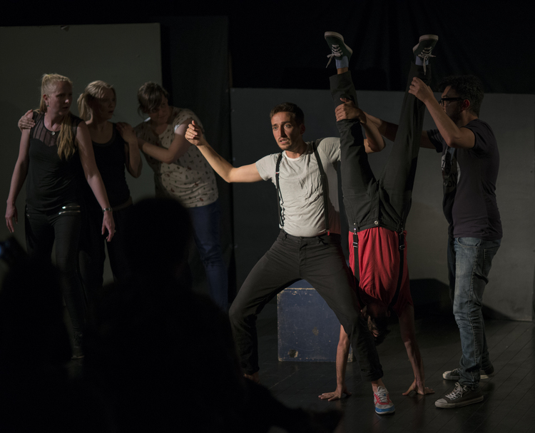One of the teams performing a wacky, but wonderful sketch. Photo: Boris Ka