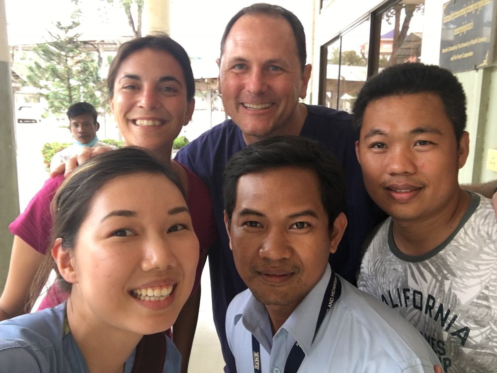 Our team with KSFH nurse leaders, Pak Sopheak and Vuth, our INP Cambodian Coordinator.