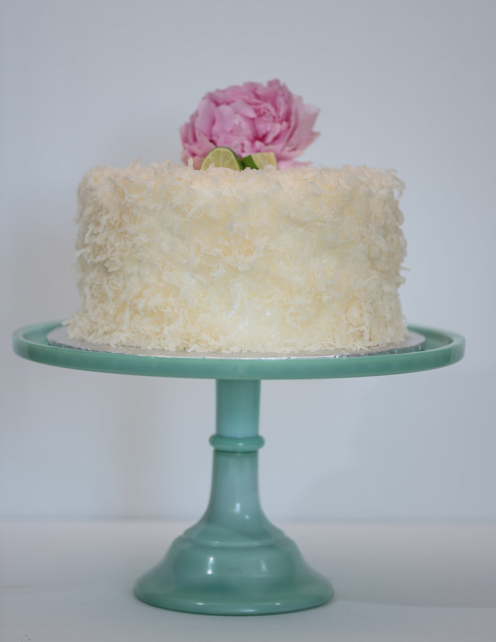 Key lime Coconut cake. Fresh flowers not included
