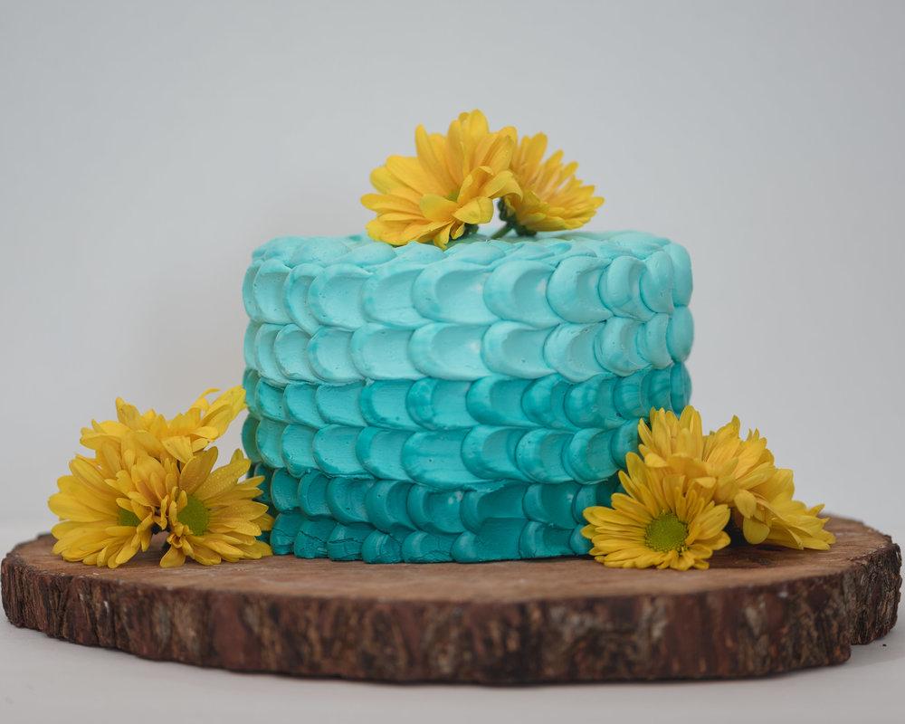 Ombre Rose petal cake