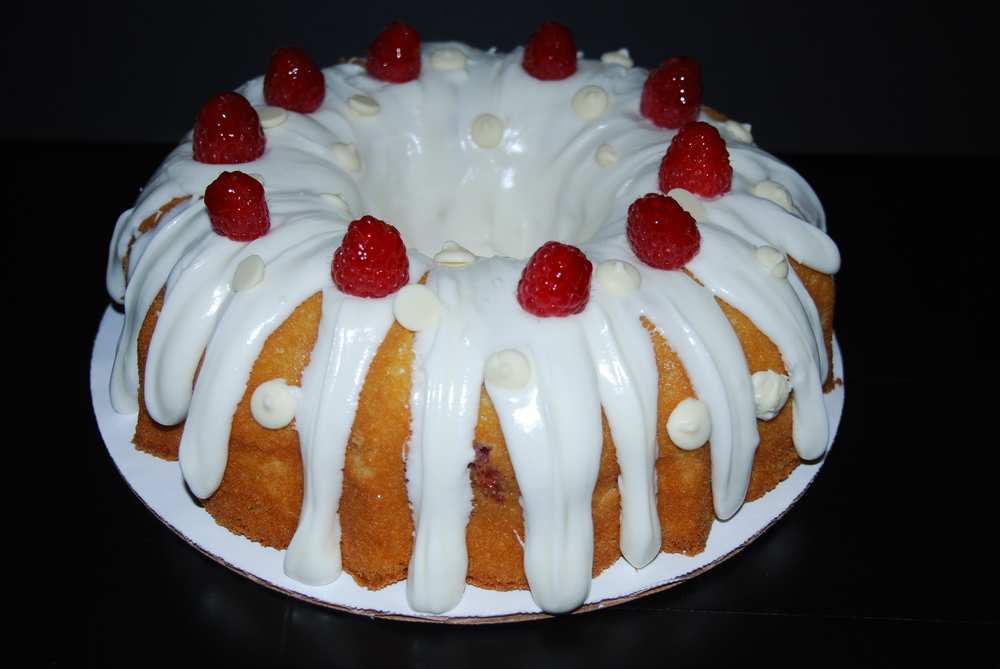 White Chocolate raspberry Bundt