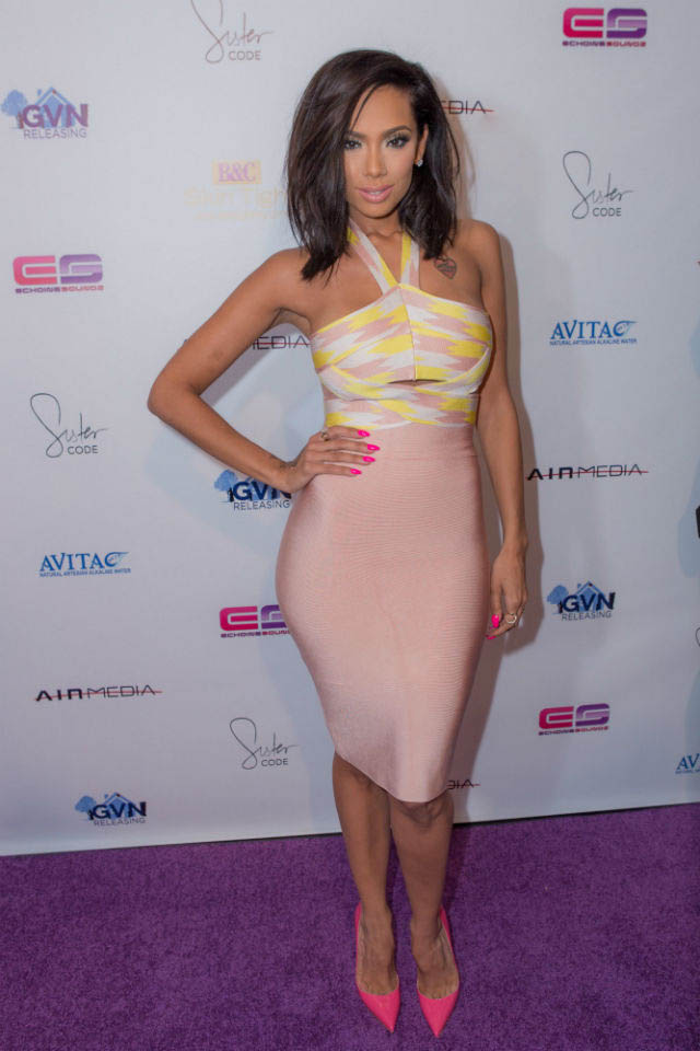 ERICA MENA'S  HOUSE OF CB AMISI NUDE AND LEMON CUT OUT BANDAGE TWO PIECE DRESS