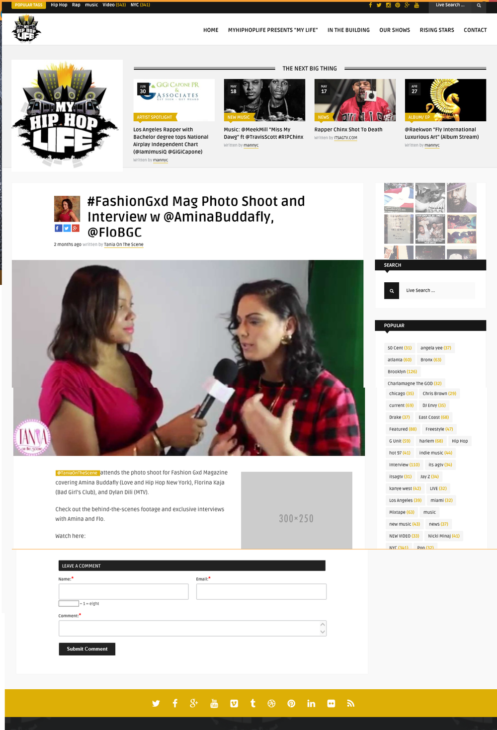 Fashion Gxd Magazine Covered on MyHiphoplife.com By Tania on The Scene