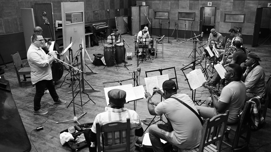 Orquesta Akokán at Areito studios, La Habana, Cuba.  (Photo: Joel Pront)