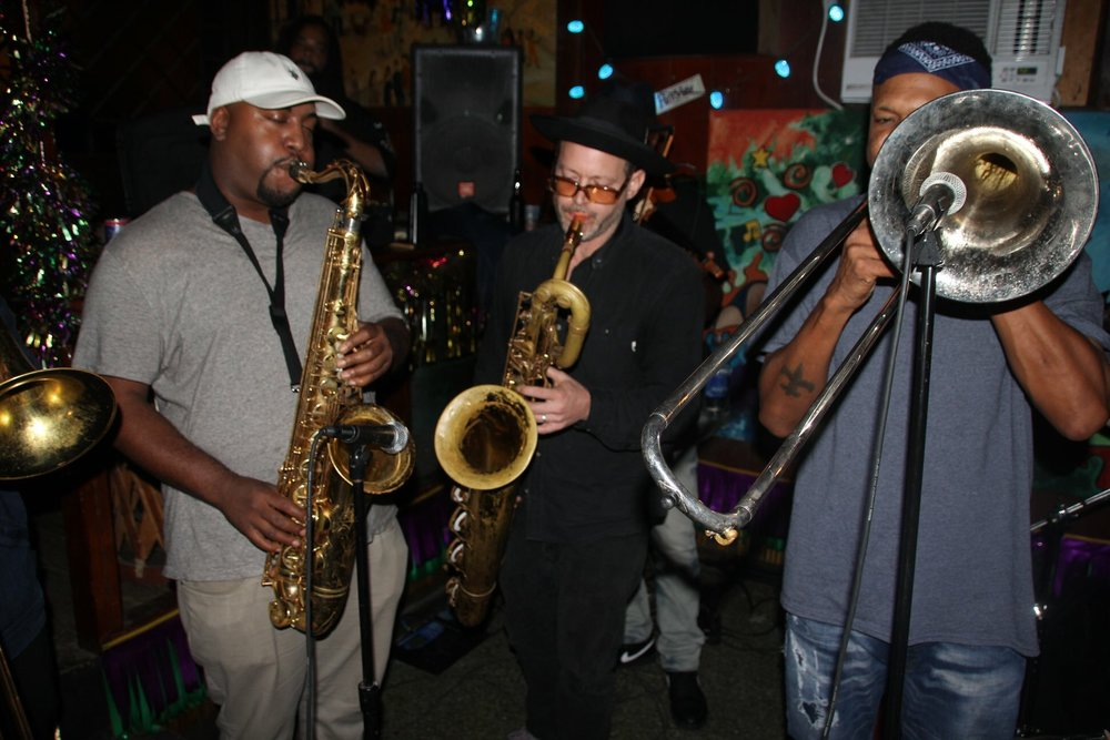 With Corey Henry and Treme Funktet. Vaughan's Lounge Oct 2018 Photo: Raymond J Mason