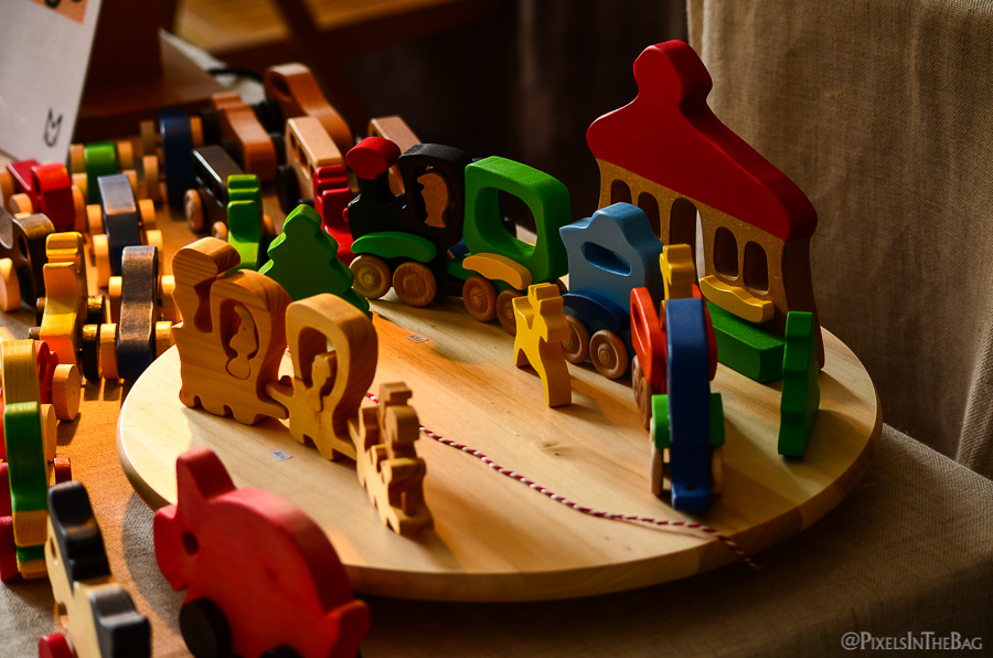 Wooden toys sold at the fair.
