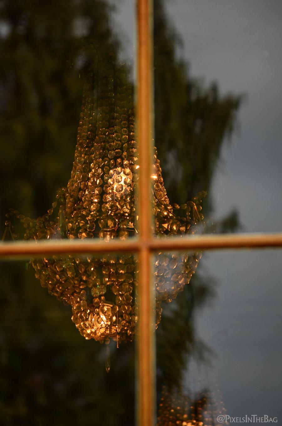 A chandelier inside the Enghien Chateau.