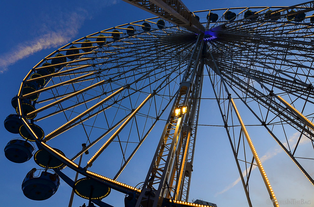 Dramatic angle of the Ferris wheel.