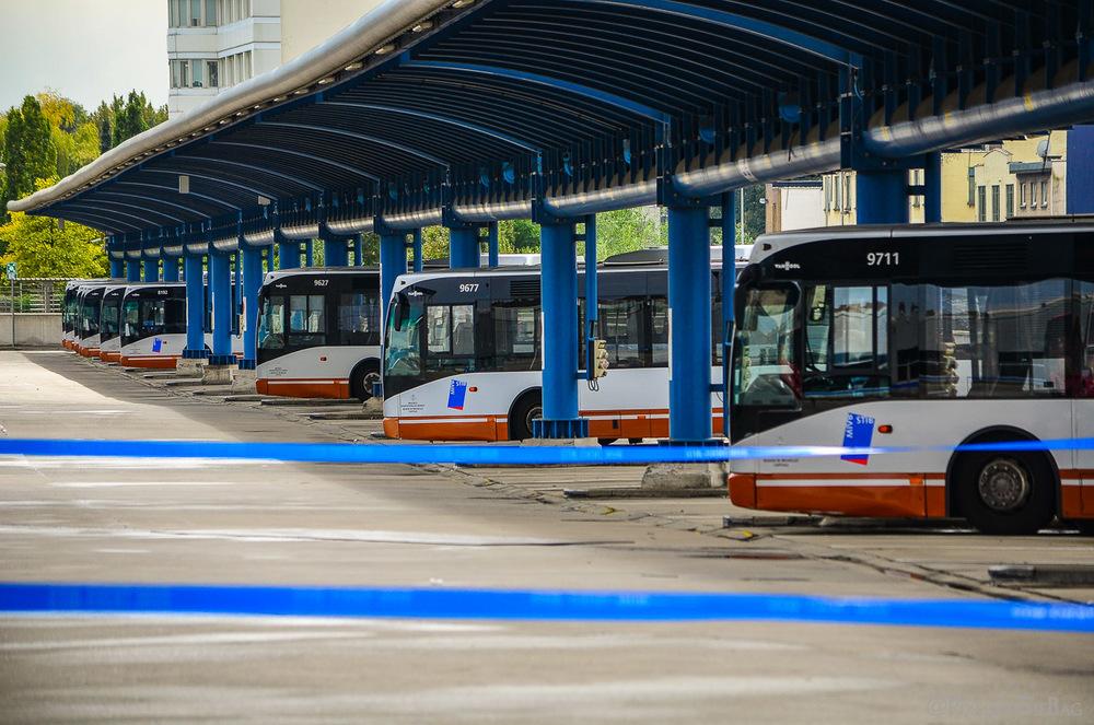 Des bus de la STIB.
