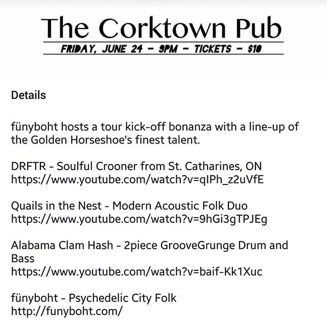 We're playing downtown Hamilton tomorrow night at the Corktown. Feel free to message us if you're looking for tickets