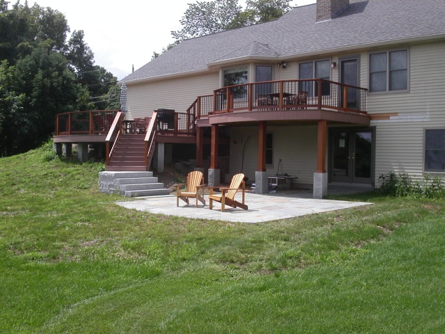Decks in ma natural path landscaping for Under porch ideas