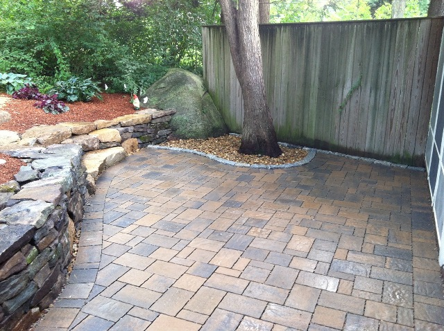 This Permeable Patio Had Nowhere For The Water To Drain Except Below Its  Surface. The Rocks For The Steps Were Unearthed During The Patio Excavation.