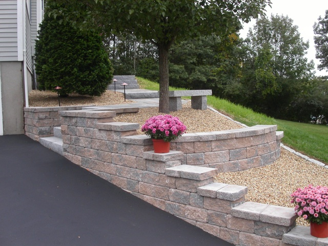 Wall building in ma natural path landscaping for Concrete block landscaping ideas