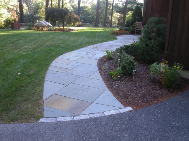Walkway and patio design in ma natural path landscaping for Natural stone walkways