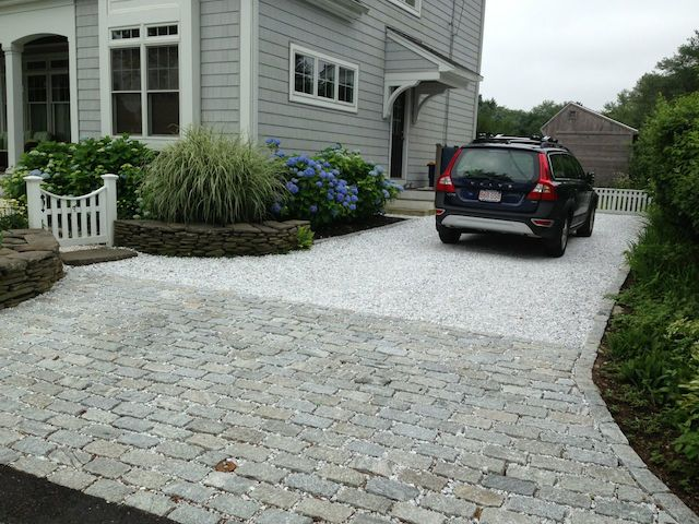 Permeable Paving on garage built in to hillside