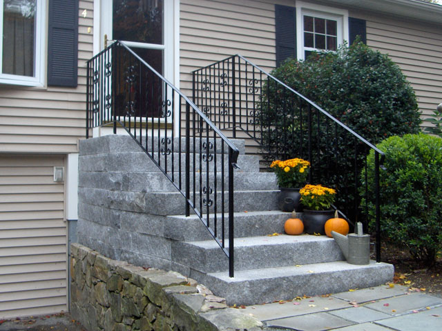 The Space Next To The Existing Driveway Wall Was Not Enough To Accommodate  These Granite Steps Unless They Were Angled 10 Degrees Away From The Wall,  ...