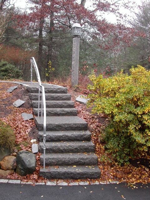 Entrances and steps landscaping in ma natural path for Steep driveway construction