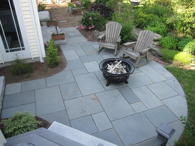 Bluestone Patio fits precisely and offers three access points from the home. - Walkway And Patio Design In MA €� Natural Path Landscaping