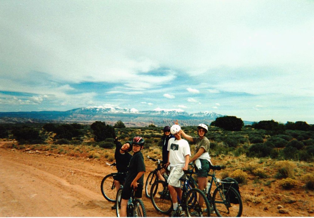 Brett, Rory, Michele, Mom and I on Bikes.jpg