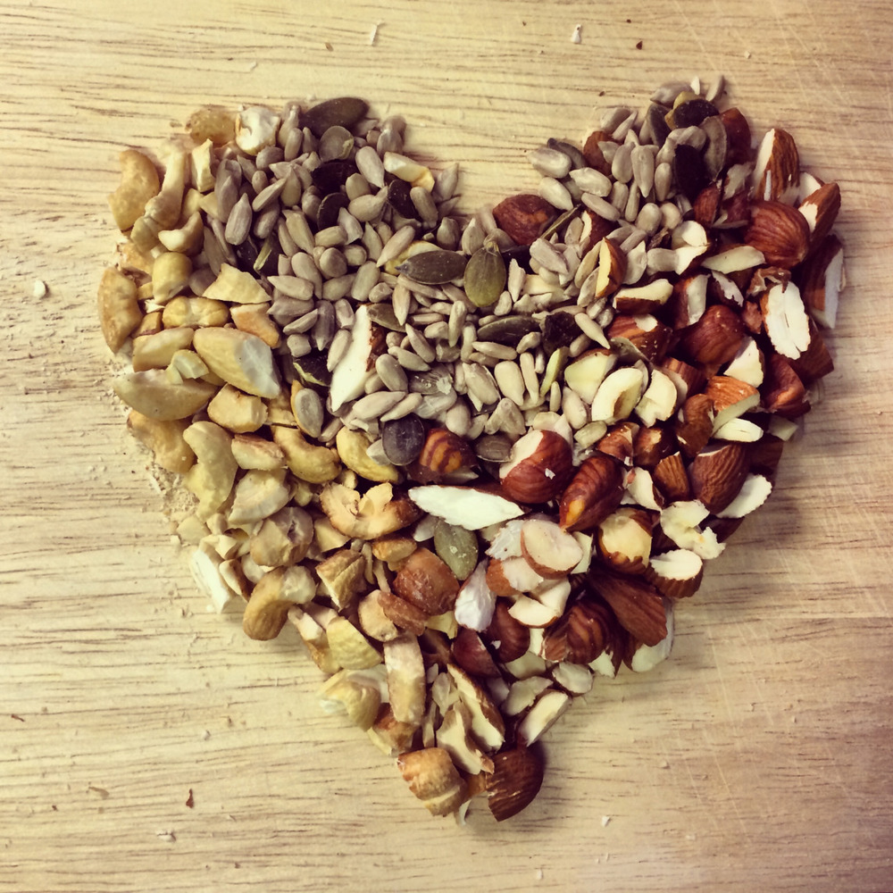 A heart made of nuts