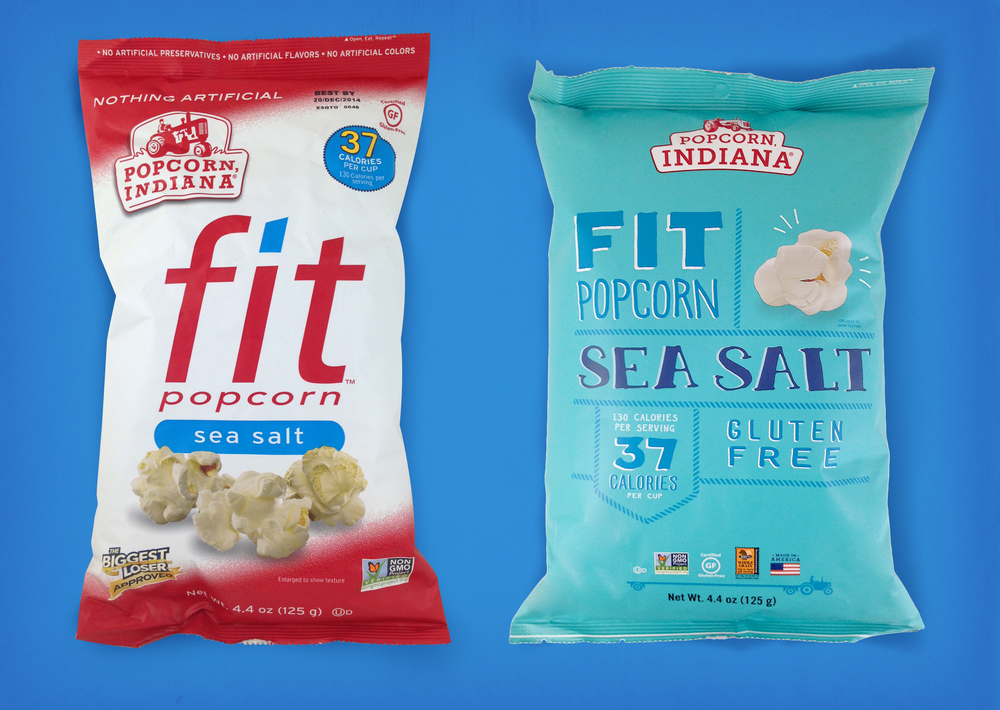 Popcorn, indiana's logo and fit bags; before and after refresh