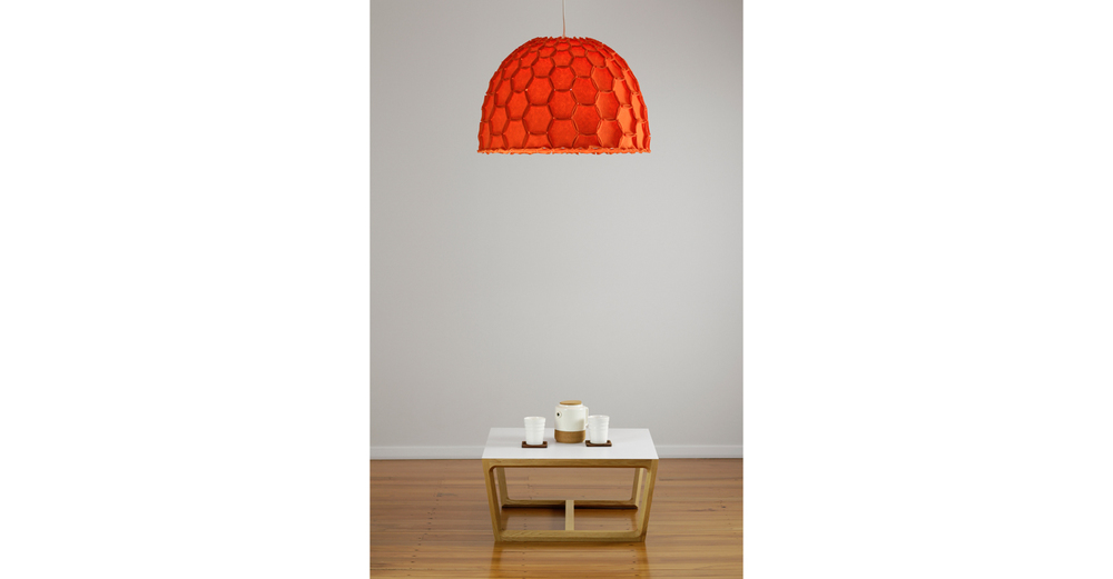 Nectar large half lampshade orange with chamfer coffee table - Designer Designtree.jpg
